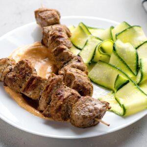 Keto Grilled Pork Skewers [with Lemony Zoodle Salad]