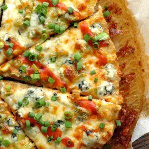 Keto Buffalo Chicken Crust Pizza [Chicken Meatza Recipe]