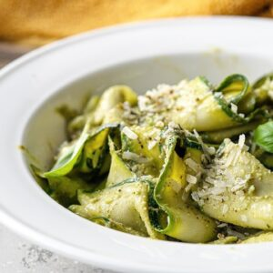Low-Carb Zucchini Ribbons with Avocado Walnut Pesto